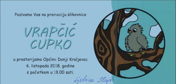 Najava: Promocija slikovnice VRAPČIĆ CUPKO autorice Ljubice Ilijaš u subotu 6. listopada 2018.