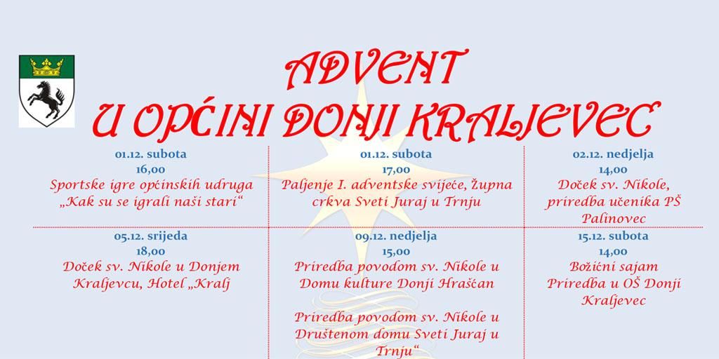 Advent u općini Donji Kraljevec – kalendar događanja