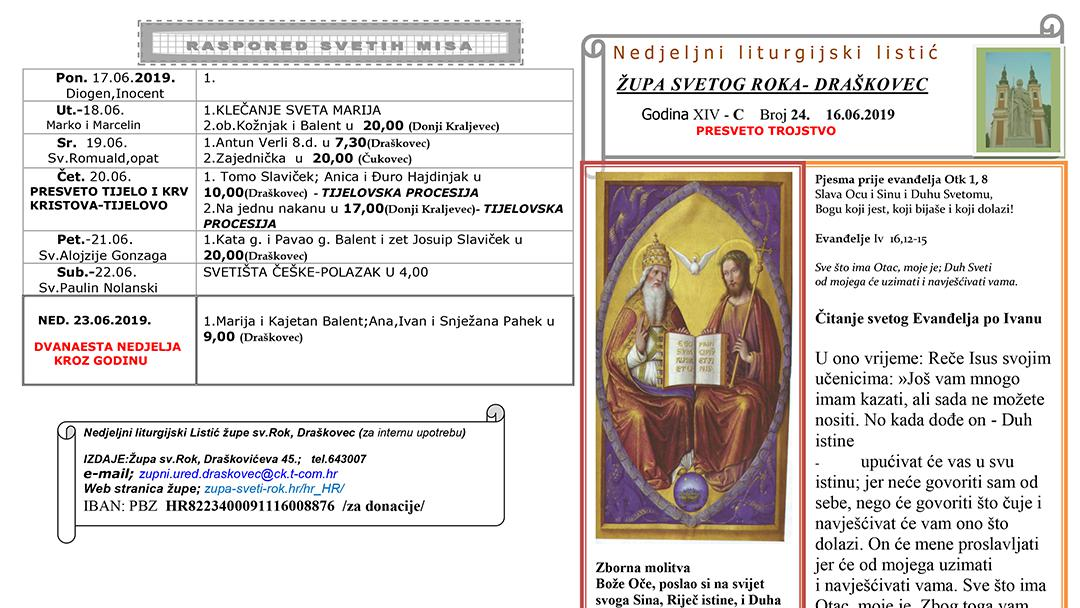 Liturgijski listić – PRESVETO TROJSTVO