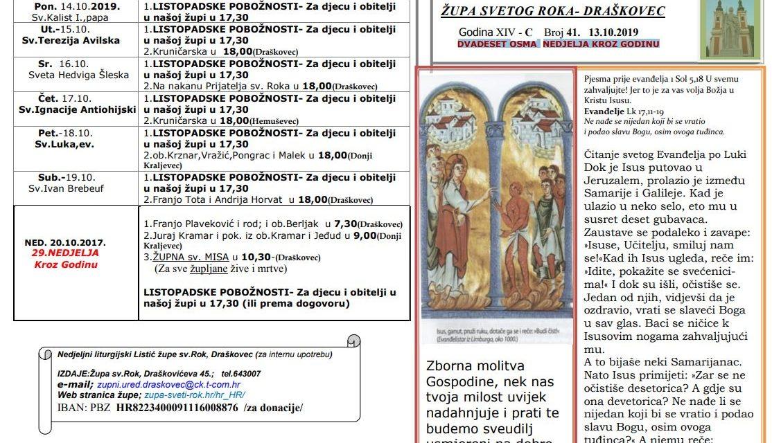 Liturgijski listić – 28. Nedjelja kroz godinu